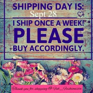 SHIPPING POLICY!